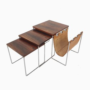 Mid-Century Rosewood and Leather Mimiset by Brabantia, The Netherlands 1950s, Set of 3