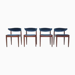 Rosewood and Velvet Dining Chairs from Topform, The Netherlands, 1950s, Set of 4