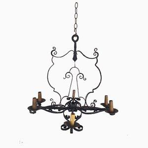 Lámpara de araña Mid-Century de hierro forjado con cuatro brazos