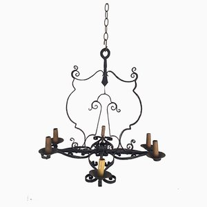 Mid-Century Four-Arm Wrought Iron Chandelier