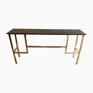 Brass Console with Black Marble Top