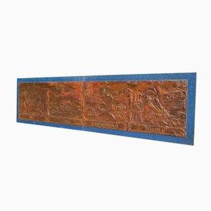 Geerdetes Gemälde auf Kupferplatten, Die vier Jahreszeiten und die Sternzeichen, Italien, 1970