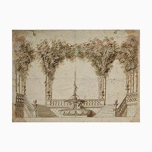 Jules Arsène Garnier, dibujo de jardín neoclásico, finales del siglo XIX