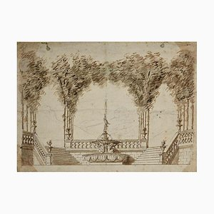 Jules Arsène Garnier, Neoclassic Garden Drawing, Late 19th Century