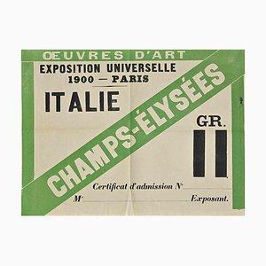 Unbekannt, Eintritt in die Weltausstellung in Paris, Dokument, 1900