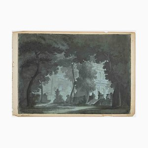 Giovanni Leonardi, The Castle in Twilight, Drawing, Early 20th Century