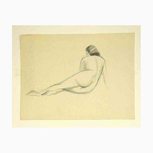 Unbekannt, Akt von hinten, Zeichnung, 1950er