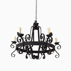 Eight-Arm Wrought Iron Chandelier, 1960s