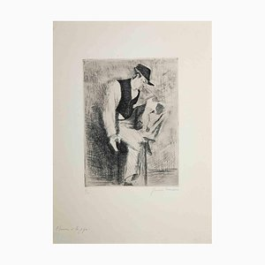 Yvonne Mondin, Man with the Pipe, Etching, Mid 20th Century