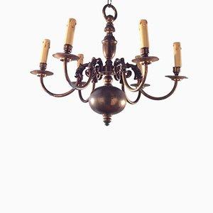 Lámpara de araña holandesa de bronce y latón, años 40