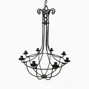 6-Arm Wrought Iron Cage Chandelier, 1940s