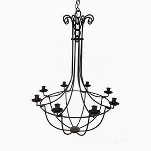 Lámpara de araña de hierro forjado con seis brazos, años 40