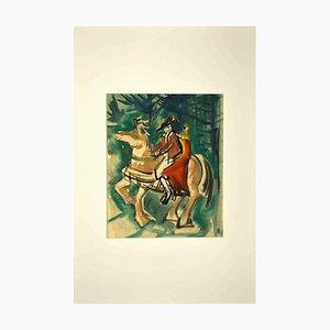 Peinture Inconnue, Chevalier et Fille, 1950s