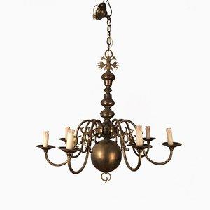 Lámpara de araña vintage de bronce y latón, años 40