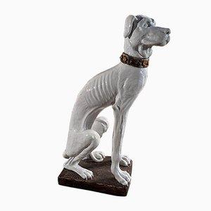 Mid-Century Italian Majolica Ceramic Glazed Hound Dog