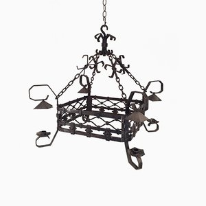4-Arm Wrought Iron Chandelier, 1940s