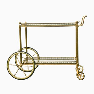 French Brass and Glass Serving Trolley by Maison Bagués, 1940s