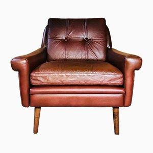 Vintage Danish Cognac Leather Lounge Chair by Svend Skipper, 1964