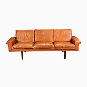 Dänisches Vintage 3-Sitzer Ledersofa von Morgans Hansen