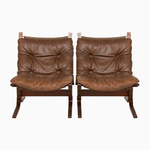 Vintage Danish Leather Siesta Chairs by Ingmar Relling, Set of 2