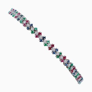 Sapphires, Rubies, Emeralds, Diamonds, 14 Karat White Gold Bracelet