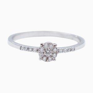 White Diamonds & 18 Karat White Gold Magic Ring