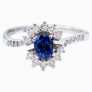 Blue Sapphire, White Diamonds & 18 Karat White Gold Engagement Ring