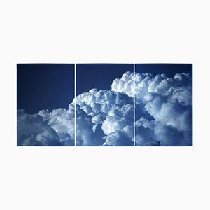 Multipanel Triptych of Serene Clouds, Limited Edition, 2021, Handmade Cyanotype