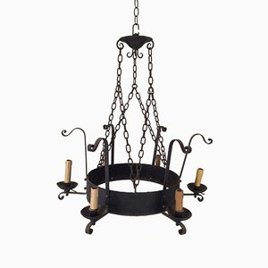 6-Arm Wrought Iron Chandelier, 1920s