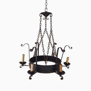 Lámpara de araña de hierro forjado con seis brazos, años 20