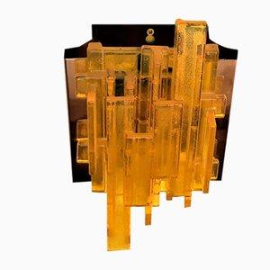 Gelbe Wandlampe aus Acryl & Metall von Claus Bolby für Cebo Industri, Denmark, 1960er