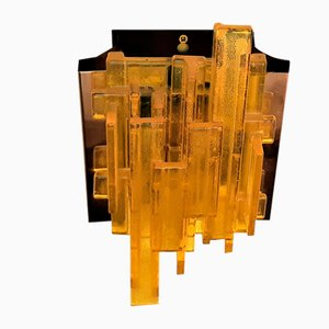 Yellow Acrylic and Metal Wall Lamp by Claus Bolby for Cebo Industri, Denmark, 1960s