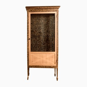 Neoclassical Showcase in Lacquered Mahogany & Black and Gold Copper