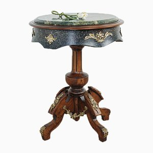 French Empire Side Table in Beech and Walnut with Matte Black Lacquer and Green Marble Top