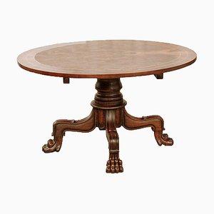 Table de Jeux Basse Style Chippendale en Noyer avec Marqueterie