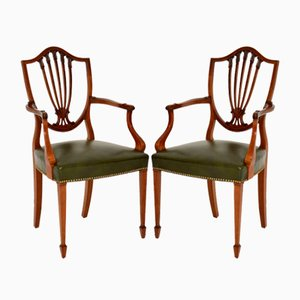 Antique Shield Back Carver Armchairs, Set of 2