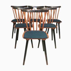Mid-Century Stick Back Esszimmerstühle mit petrolblauen Bezügen, 6er Set