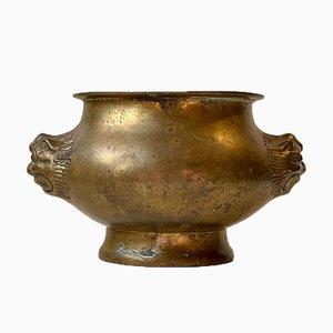 Antique Indian Brass Jardinière with Lion Heads