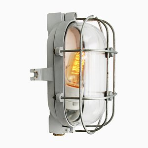 Vintage Industrial Cast Iron & Clear Glass Wall Lamps from Industria Rotterdam