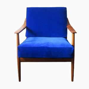 Blue Velvet Lounge Chair with Curved Back & Sprung Cushions, 1960s