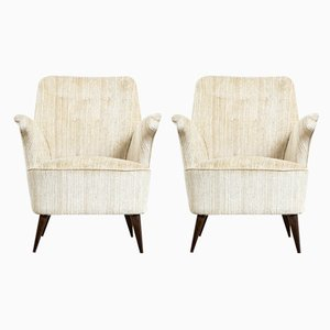 Armchairs with Wooden Frame and Fabric Covering by Nino Zoncada, 1950s, Set of 2