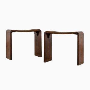 Beistellstühle aus Holz im Stil von Guglielmo Ulrich, 1950er, 2er Set