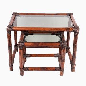 Tables Empilables en Bambou avec Plateau en Verre Fumé, Set de 2