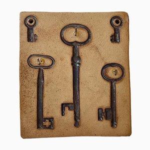 Skandinavischer Vintage Schlüssel Wandhalter aus Keramik von Ulla Lonow