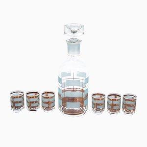 Decanter in vetro con sei bicchieri, anni '70, set di 7