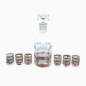 Glass Decanter with Six Glasses, 1970s, Set of 7
