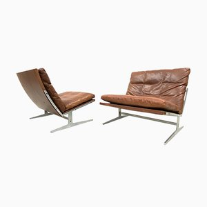 Danish Bo561 Cognac Leather Easy Chairs by Preben Fabricius & Jørgen Kastholm for BoEx, 1960s, Set of 2