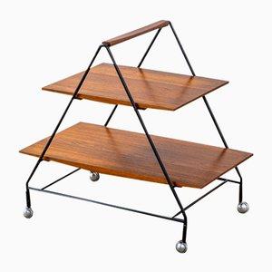 Carrello con due mensole in legno e struttura in metallo laccato di Ico Parisi per Mim, anni '60