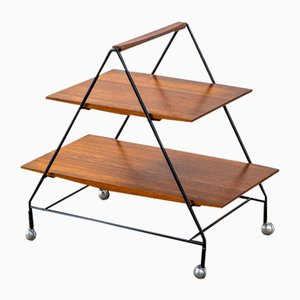 Trolley with Two Wooden Shelves and Lacquered Metal Structure by Ico Parisi for Mim, 1960s