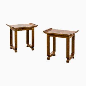 Low Tables in Walnut Veneer, 1950s, Set of 2